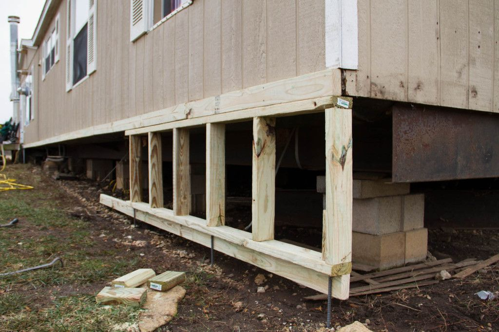 Diy mobile home skirting mobile home remodel pinterest for Cheapest way to build a house foundation