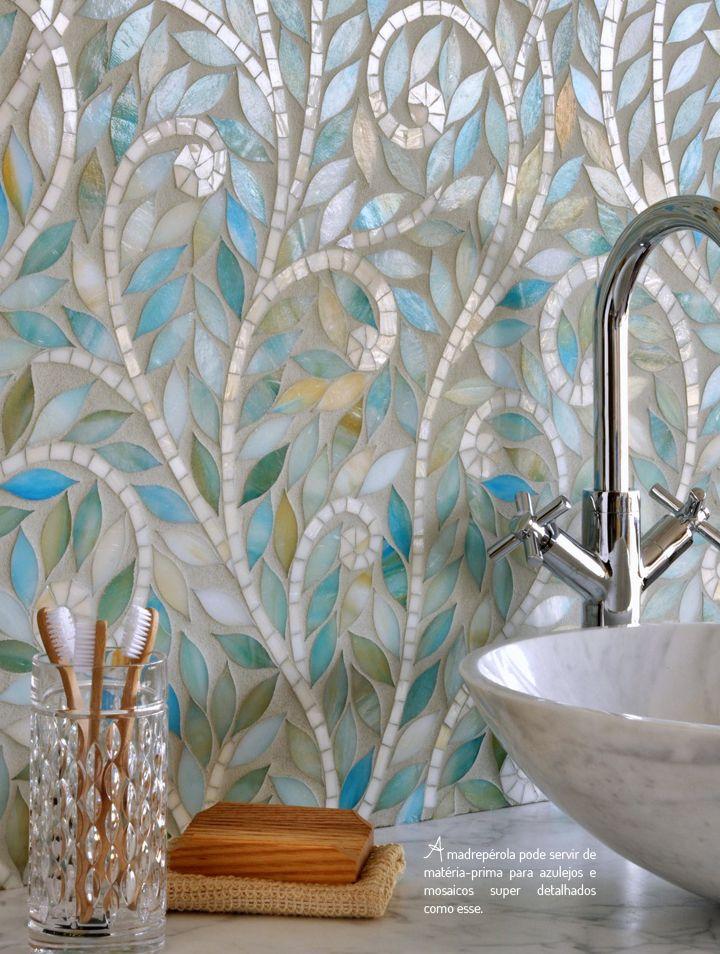 Beleza cl ssica da madrep rola dec r mosaic bathroom for Casa classica tile