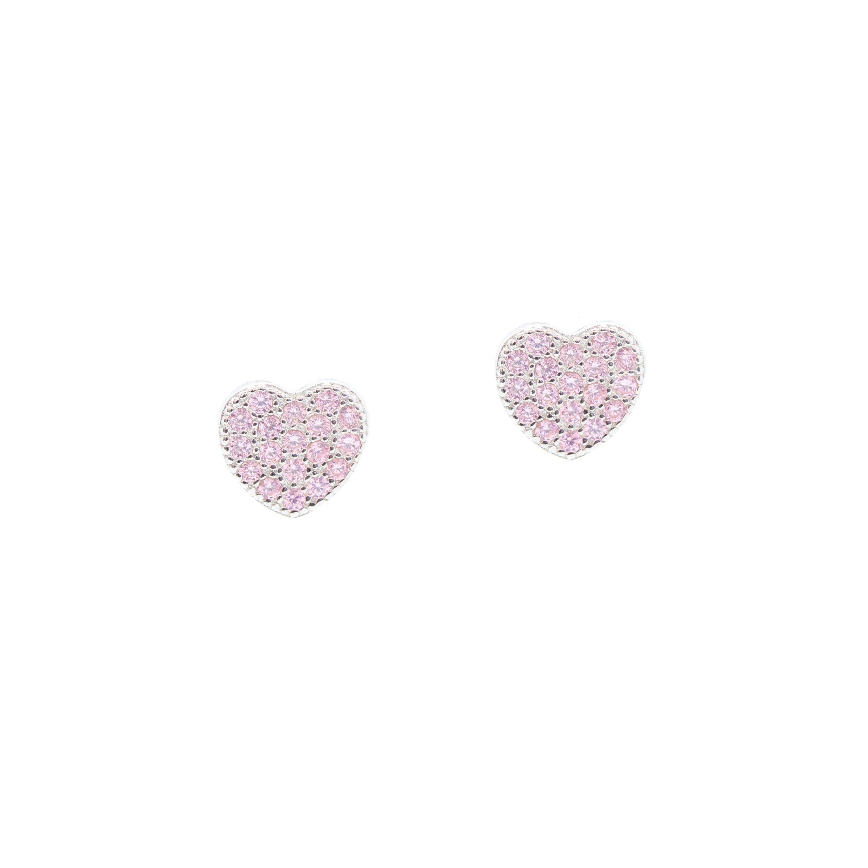 Heart Earrings In Sterling Silver With Cz Pav 233 Heart