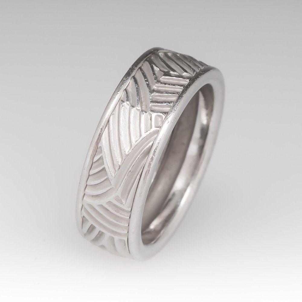 Mens Heavy Platinum Custom Designed Band Ring