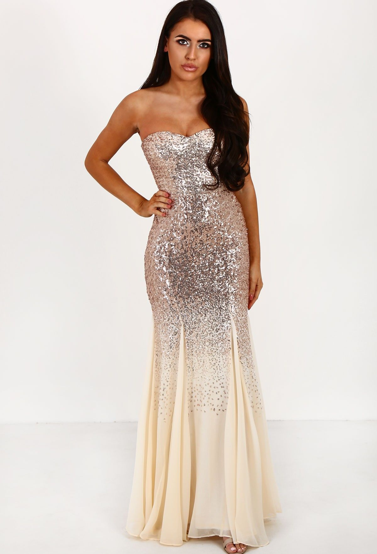 c340070e6a5 PREMIUM Once Upon A Time Champagne Sequin Strapless Fishtail Maxi ...