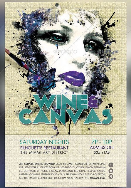 wine and canvas art event flyer template art pinterest flyer