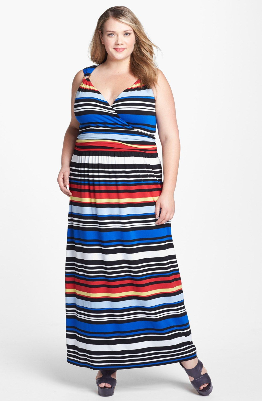 Vince Camuto Bright Stripe Maxi Dress Plus Size Online Only Nordstrom Maxi Dress Plus Size Dresses Dresses [ 1687 x 1100 Pixel ]