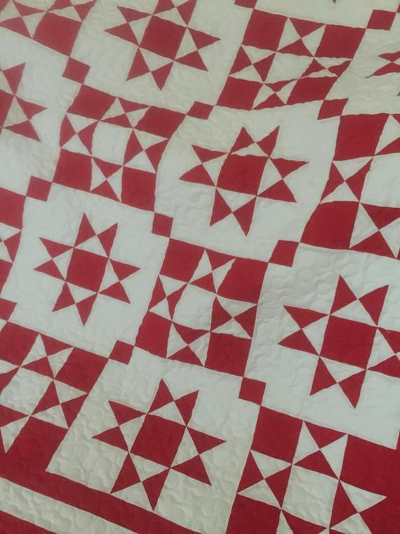 Quilt Ohio Star Red and White Reverse Color Blocks