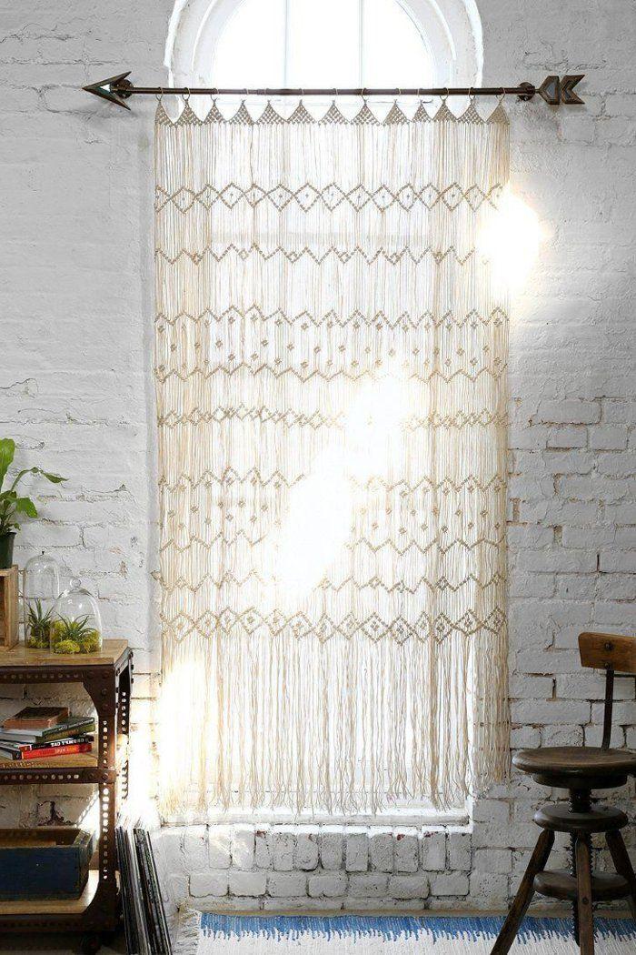 gardinen häkeln schöne dekoideen ziegelwand Rideaux Pinterest