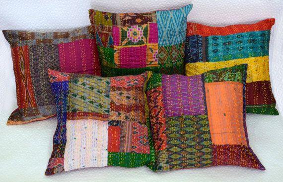 Set Of 5 Pillow Cover Silk Kantha Decorative Throw Pillow