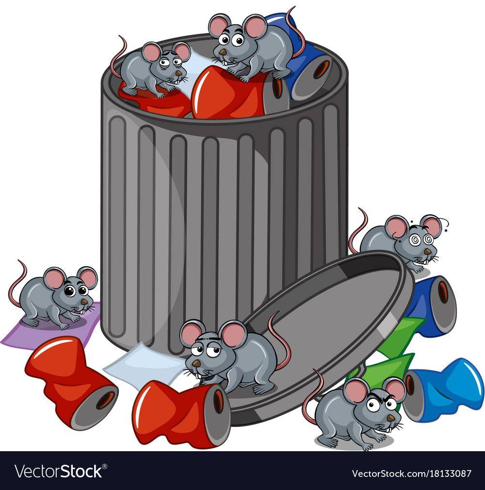 Many rats searching trashcan vector image on วอลเปเปอร์