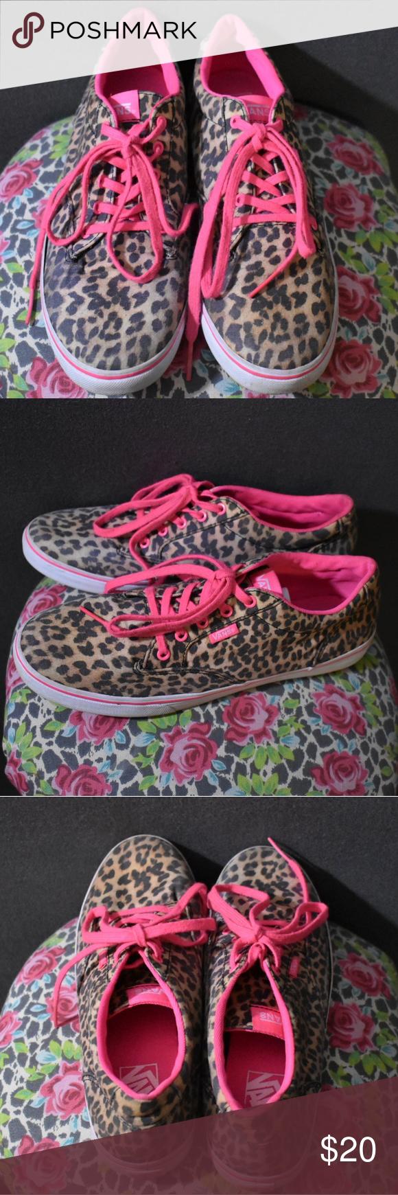 06650e79b8 🐆Vans Leopard Print   Hot Pink Good Used Condition Preloved Vans Shoes