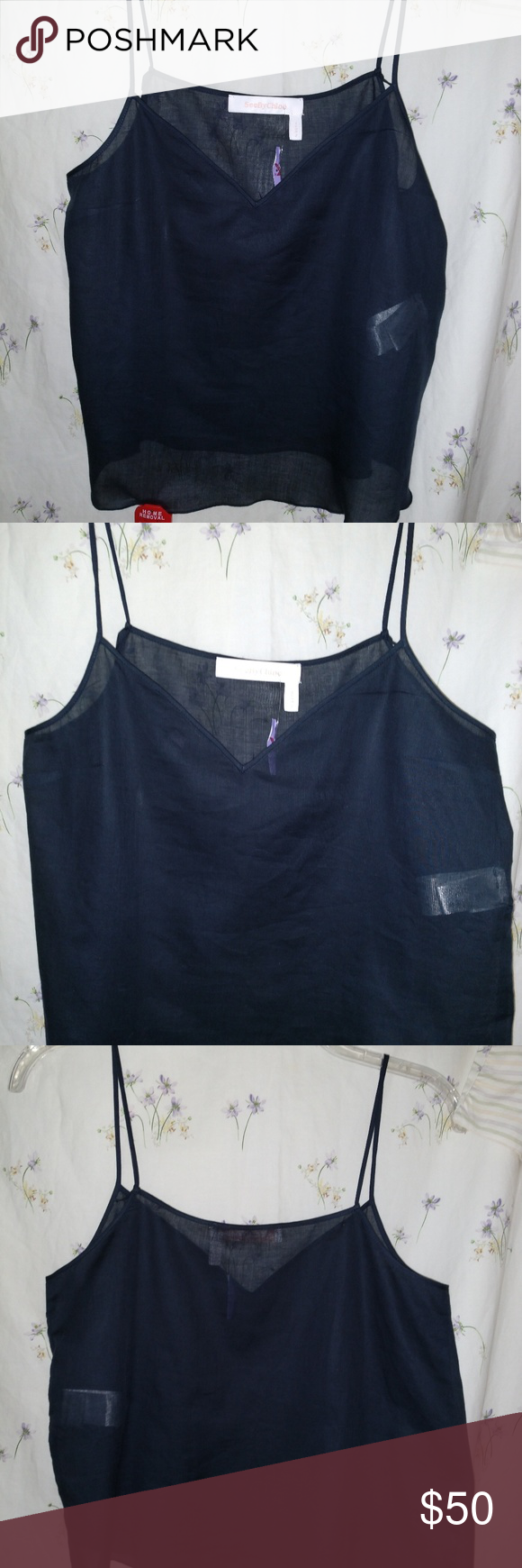 See by Chloe Designer sheer camisole NWT NWT See by Chloe Designer,  sheer blue camisole. Absolutely beautiful camisole. Lightweight and silky feeling against the skin. See By Chloe Tops Camisoles #seebychloe See by Chloe Designer sheer camisole NWT NWT See by Chloe Designer,  sheer blue camisole. Absolutely beautiful camisole. Lightweight and silky feeling against the skin. See By Chloe Tops Camisoles #seebychloe