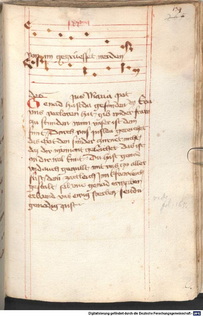 Mönch von Salzburg. Oswald von Wolkenstein: Geistliche Lieder mit Melodien Bayern/Österreich, erste Hälfte 15. Jh. Cgm 715  Folio 134