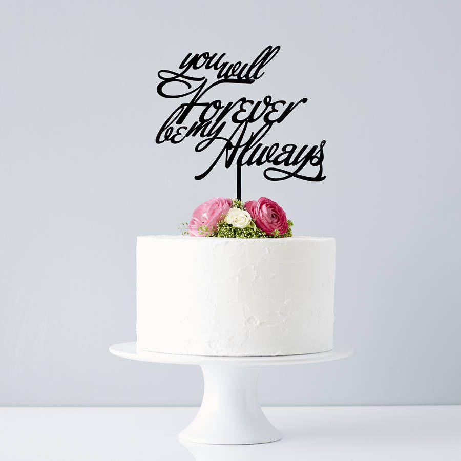 Elegant Personalised Song Lyrics Wedding Cake Topper | Wedding cake ...