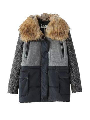 Faux Fur Collar Long Sleeve Thicken Women Coat