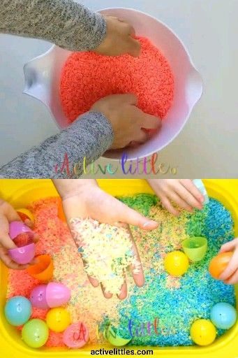 Create a simple rainbow sensory bin for little learners. An easy toddler activity with rainbow dyed rice in a sensory bin. Perfect for early learning