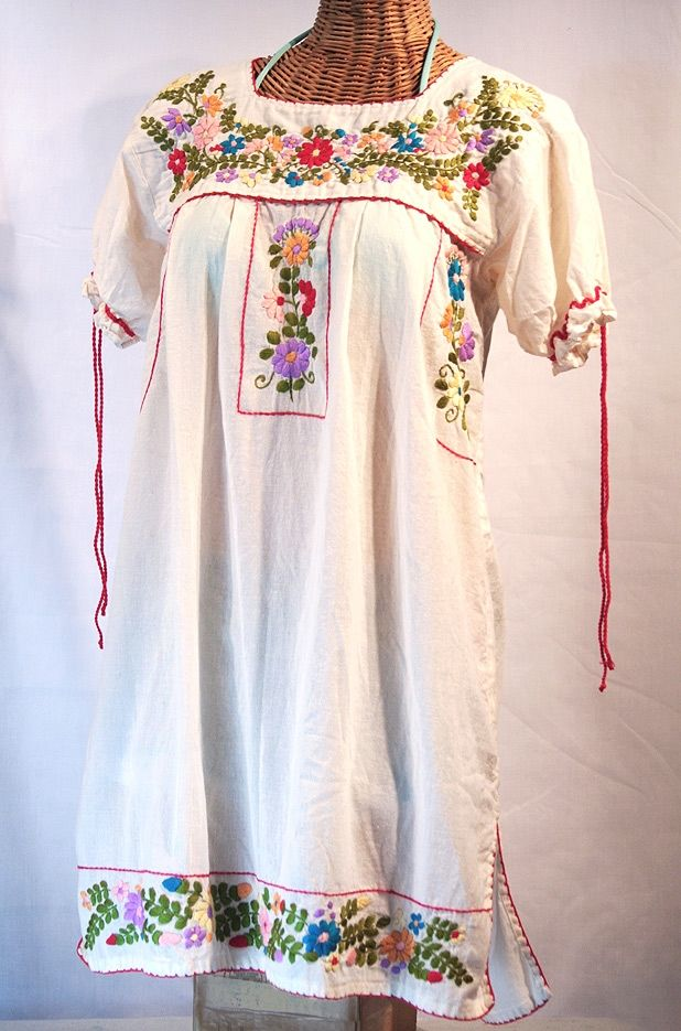 """LA ANTIGUA"" EMBROIDERED MEXICAN STYLE PEASANT DRESS"