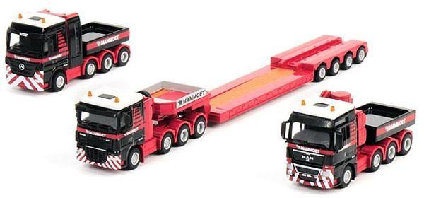 Mammoet - 3-Truck Combination Mercedes, MAN, DAF Diecast by WSI 410055 1/87