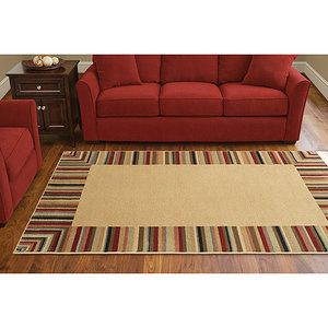 Walmart Canopy Stain Resistant Striped Border Rug Multi Rugs Border Rugs Rugs In Living Room