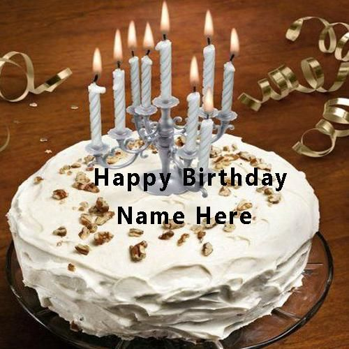 Write Name On Happy Birthday Cake With Candle. Happy
