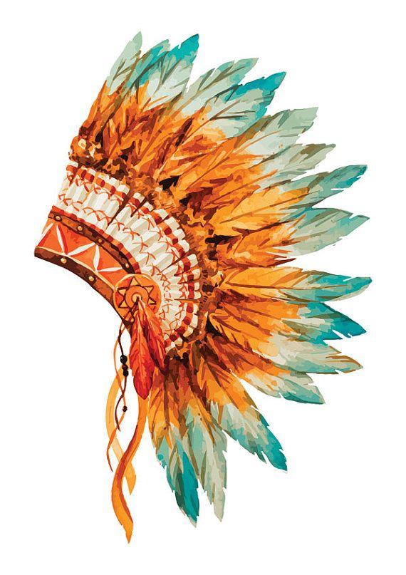 Native American Indian Headdress Watercolor Print Wall Print Color Digital Download Printable Modern Indian Headdress Canvas Art Prints Chiefs Headdress