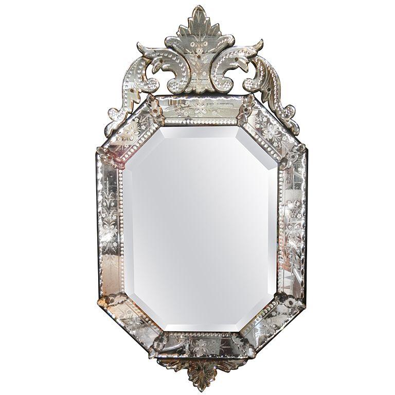 Very Fine Antique Venetian Etched Glass, Long Narrow Venetian Mirror