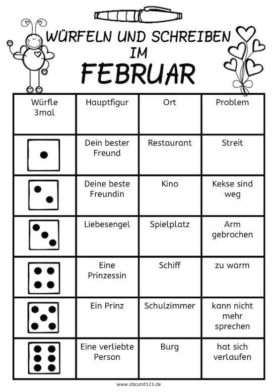 Würfeln und schreiben im Februar - | Pinterest | Würfelspiele ...