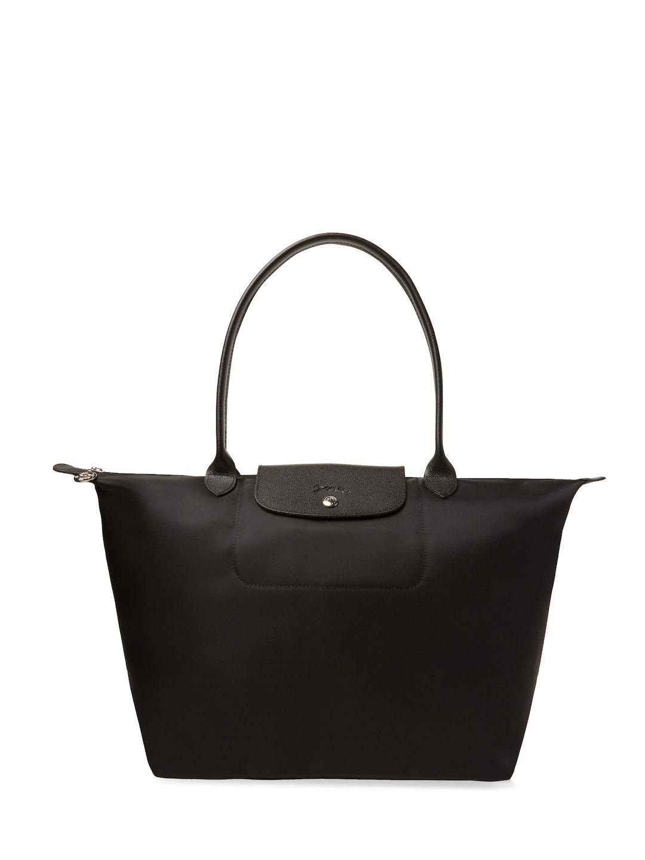 Longchamp Le Pliage N Eacute O Long Handle Large Tote Bags Leather Lining Shoulder Hand Nylon