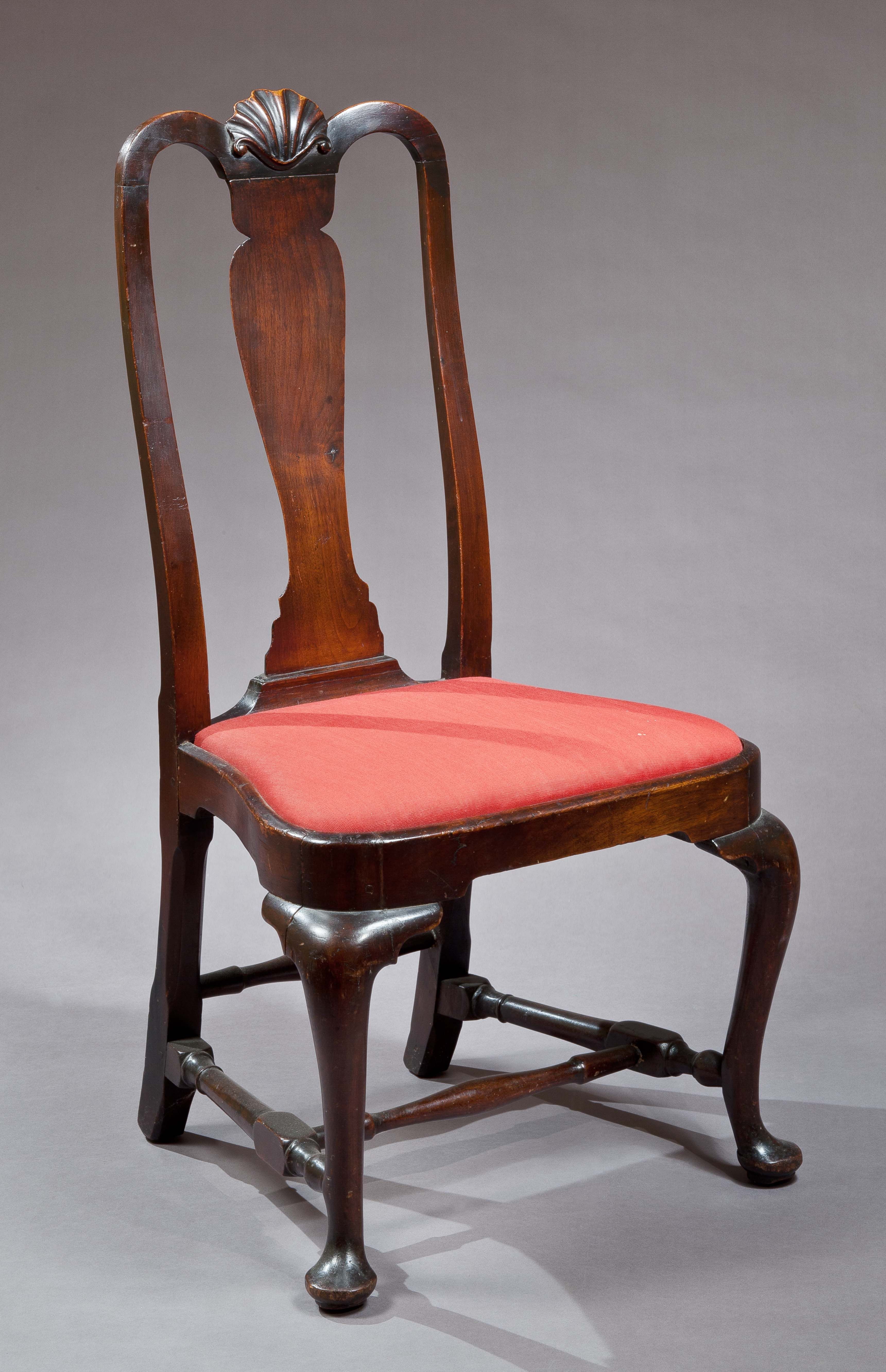 QUEEN ANNE SIDE CHAIR WITH A CARVED SHELL New England probably