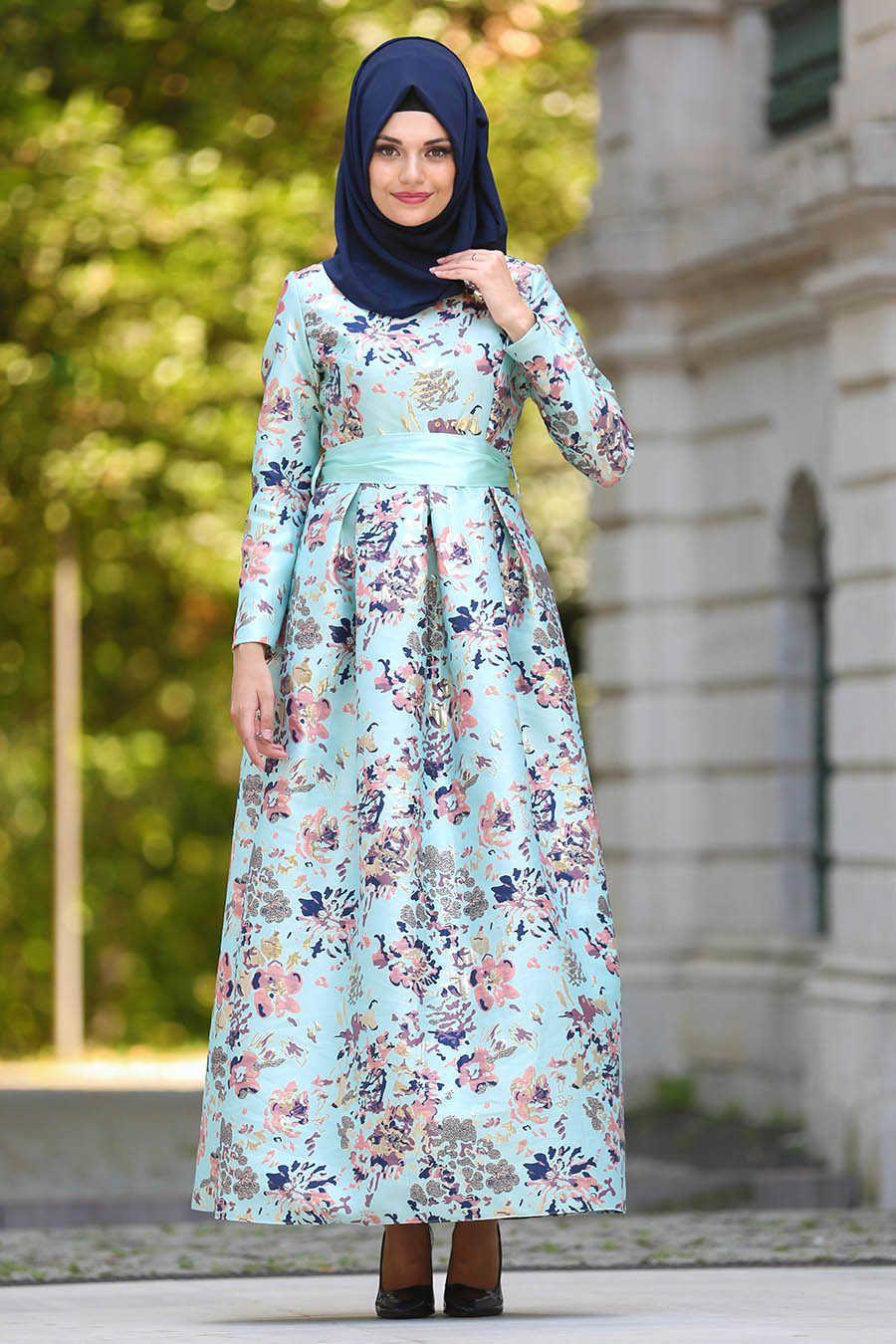 Neva style mint hijab evening dress mint evening dress
