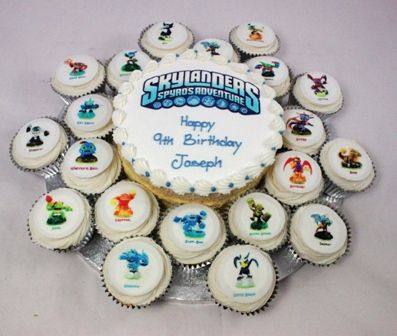 I like the small cake with the skylanders emblem and Happy Birthday