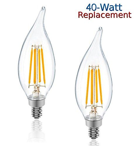 Luxrite Lr21250 2pack 4w Led Filament Candelabra Bulb 40w Equivalent Led Candle Bulb Warm White 2700k 350 Lumens 270 Candle Bulbs Candelabra Bulbs Led Candles