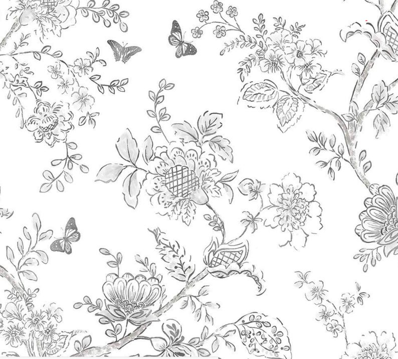 Modern Farmhouse Wallpaper Black White Hand Drawn Floral