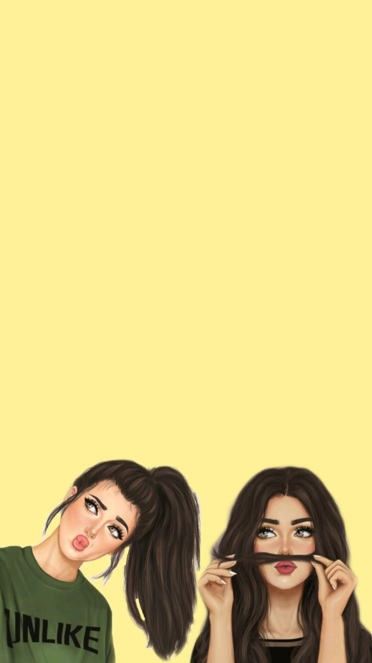 Pin By Zeynep On Background Wallpaper Cute Girl Drawing Digital Art Girl Drawings Of Friends