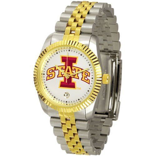 "Iowa State Cyclones NCAA ""Executive"" Mens Watch by SunTime. $157.95. Stainless Steel Case. 23kt Gold Plate Bezel. Calendar Date Function. Safety Clasp. Two-Tone Solid Stainless Steel Band. Elegant design for the modern man or woman who wants to show their team spirit! The dial is presented in a sleek, stainless steel case and bracelet that rests fashionably yet comfortably across the wrist. Features a convenient date display, quartz accurate movement and a scratch res..."