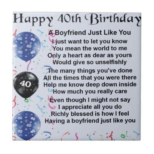 Boyfriend poem   40th Birthday Tile | Zazzle.co.uk | Auntie Poem
