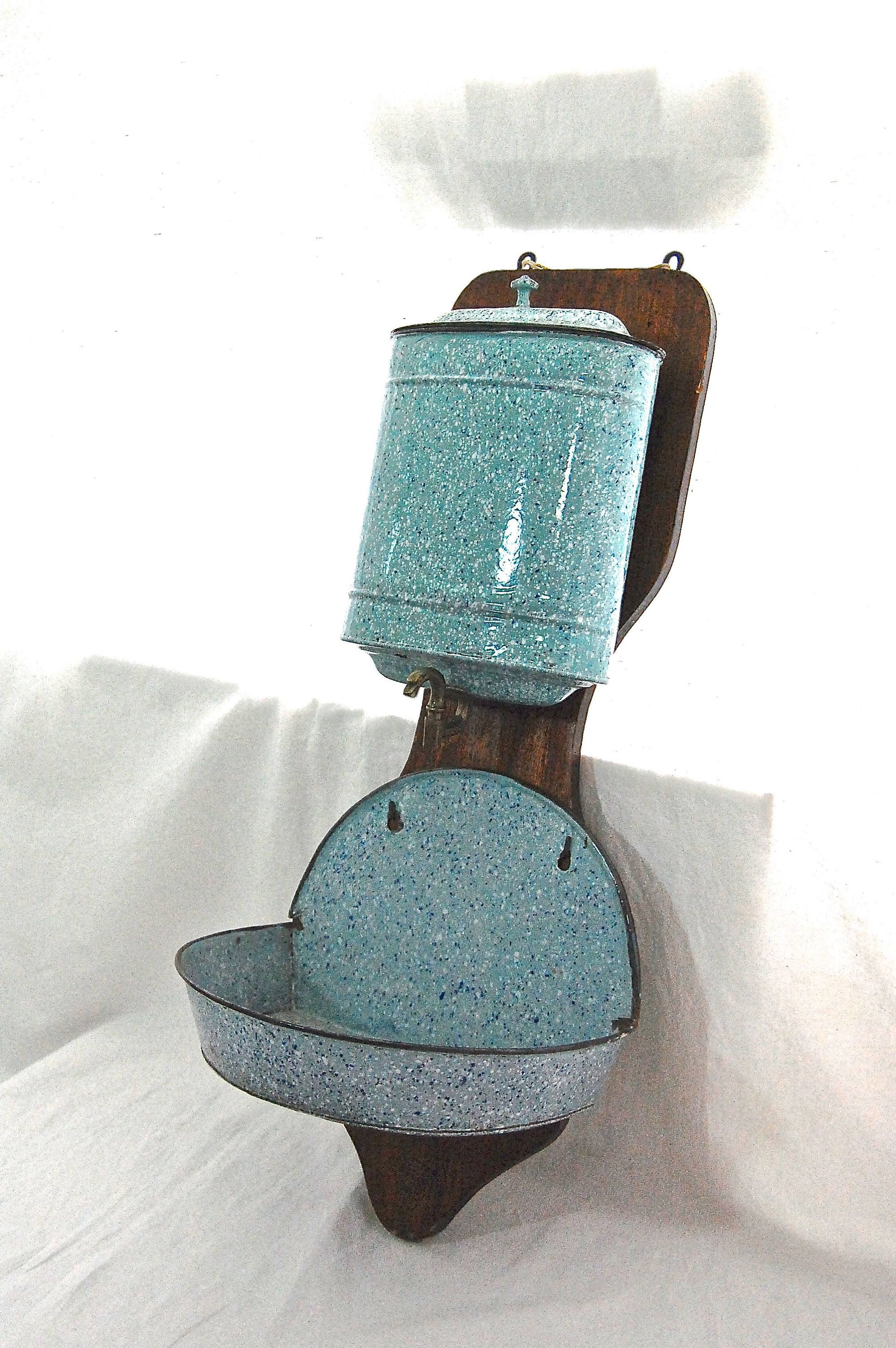french antique lavabo granite enamel water fountain with oak wall