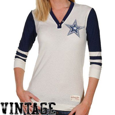 size 40 c45f4 875b7 Mitchell & Ness Dallas Cowboys Ladies Shutout Premium Henley ...