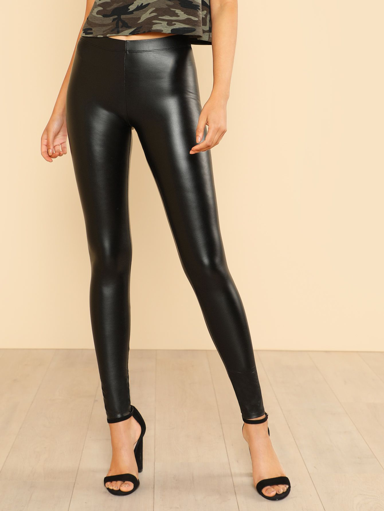969eea13f0479 Shop Faux Leather Leggings BLACK online. SheIn offers Faux Leather Leggings  BLACK & more to fit your fashionable needs.