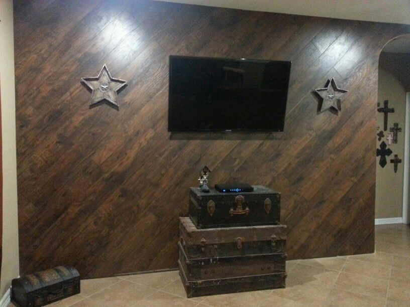 Living Room Wall Redone With Wood Planks In A Diagonal Pattern Wood Plank Walls Accent Walls In Living Room Plank Walls