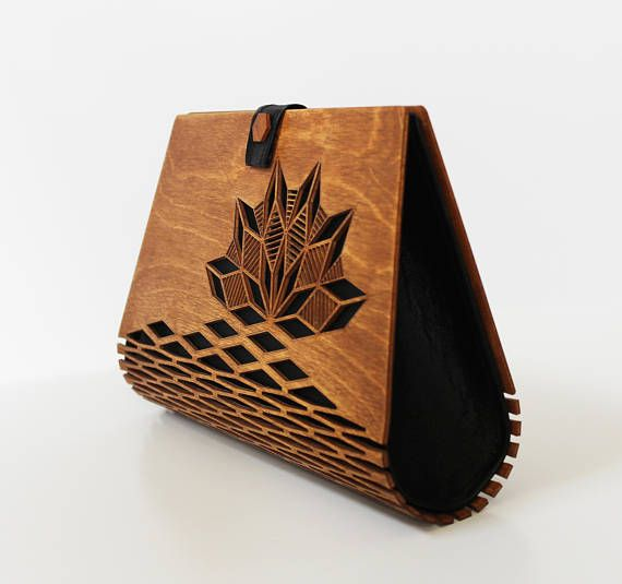 Wooden clutch, Silk clutch, Evening clutch, wooden bag, modern clutch, great gift idea, Wood handbag, Modern