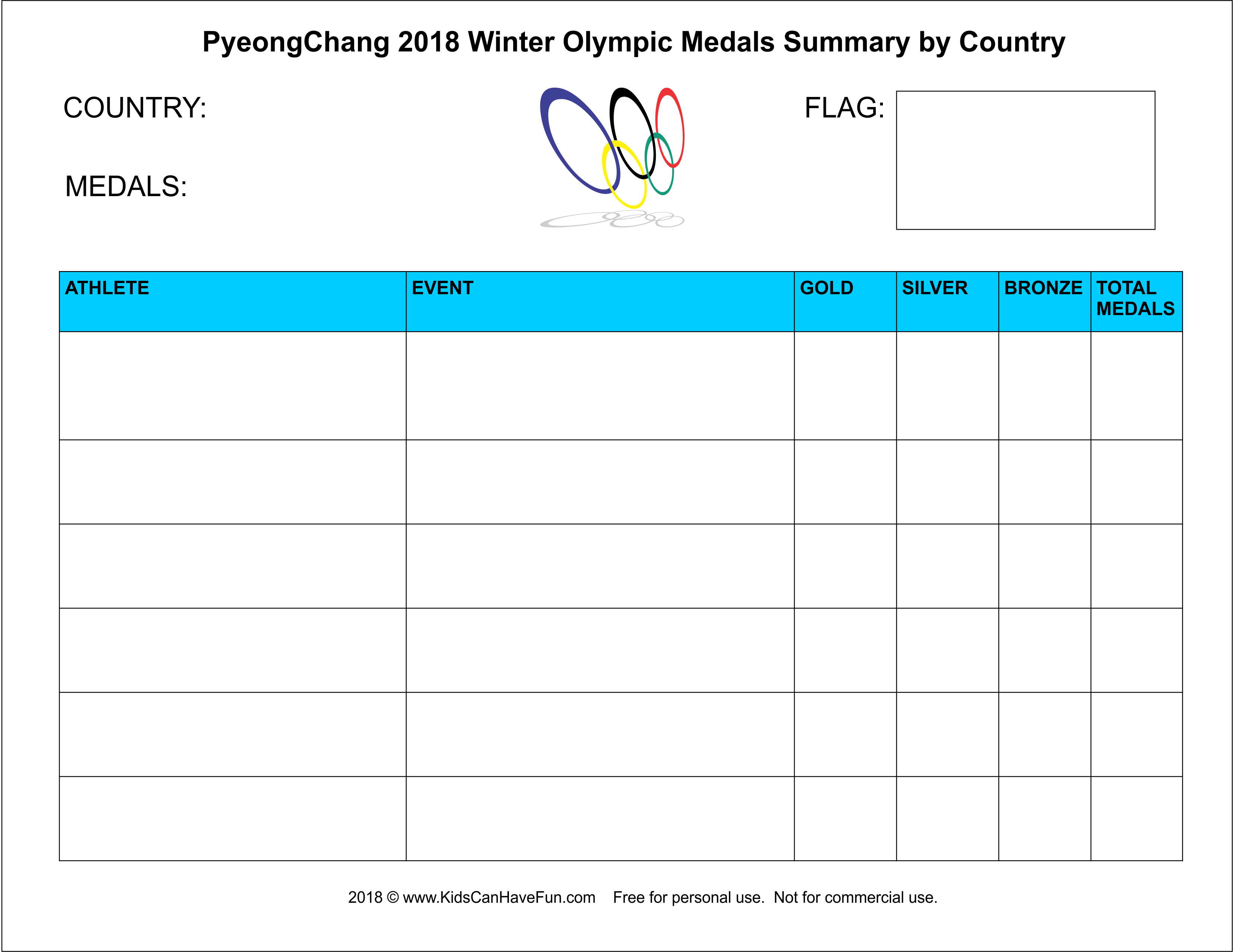 Winter Olympics Medals Summary Worksheet For Kids