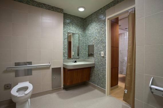Images On Figure This view of the patient toilet room reflects safety conscious design