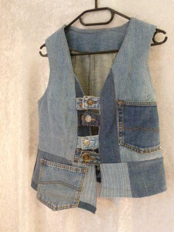 Jeans Weste mit Hosenknöpfen als Verschluss Upcycling Vest with ...