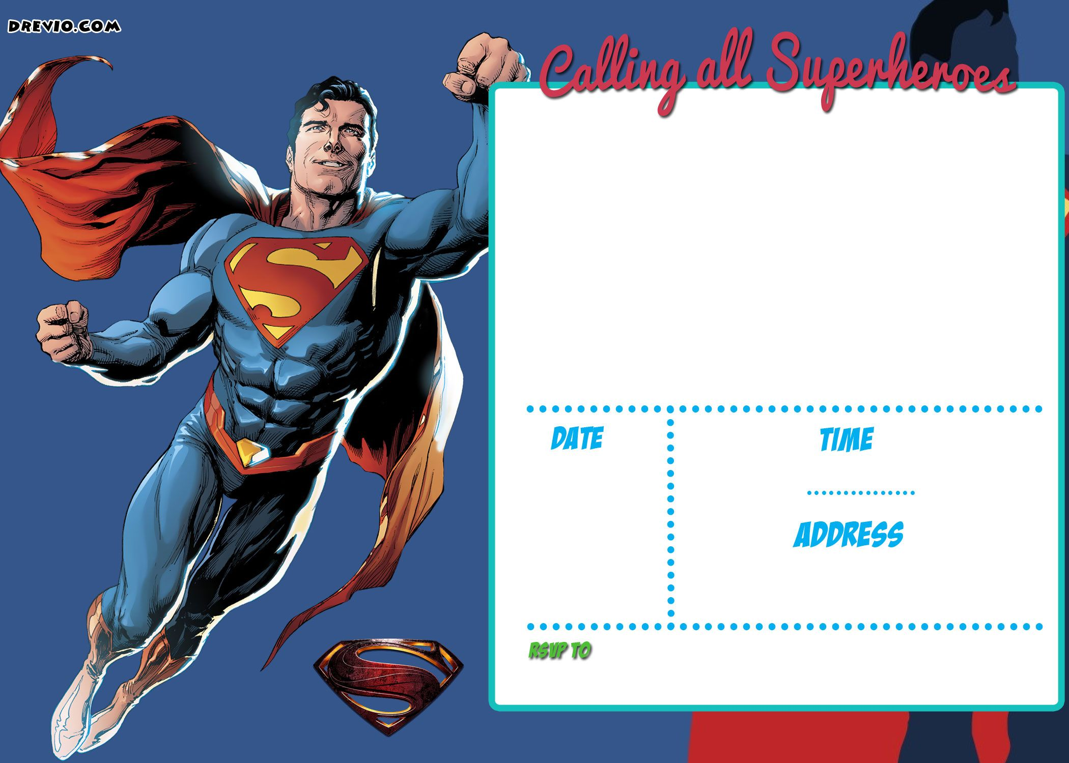 Cool FREE Printable Justice League Invitation Template