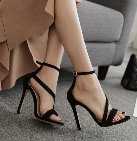 Snake Print Peep Toe Fashion Women Ankle Strap High Heels Shoes