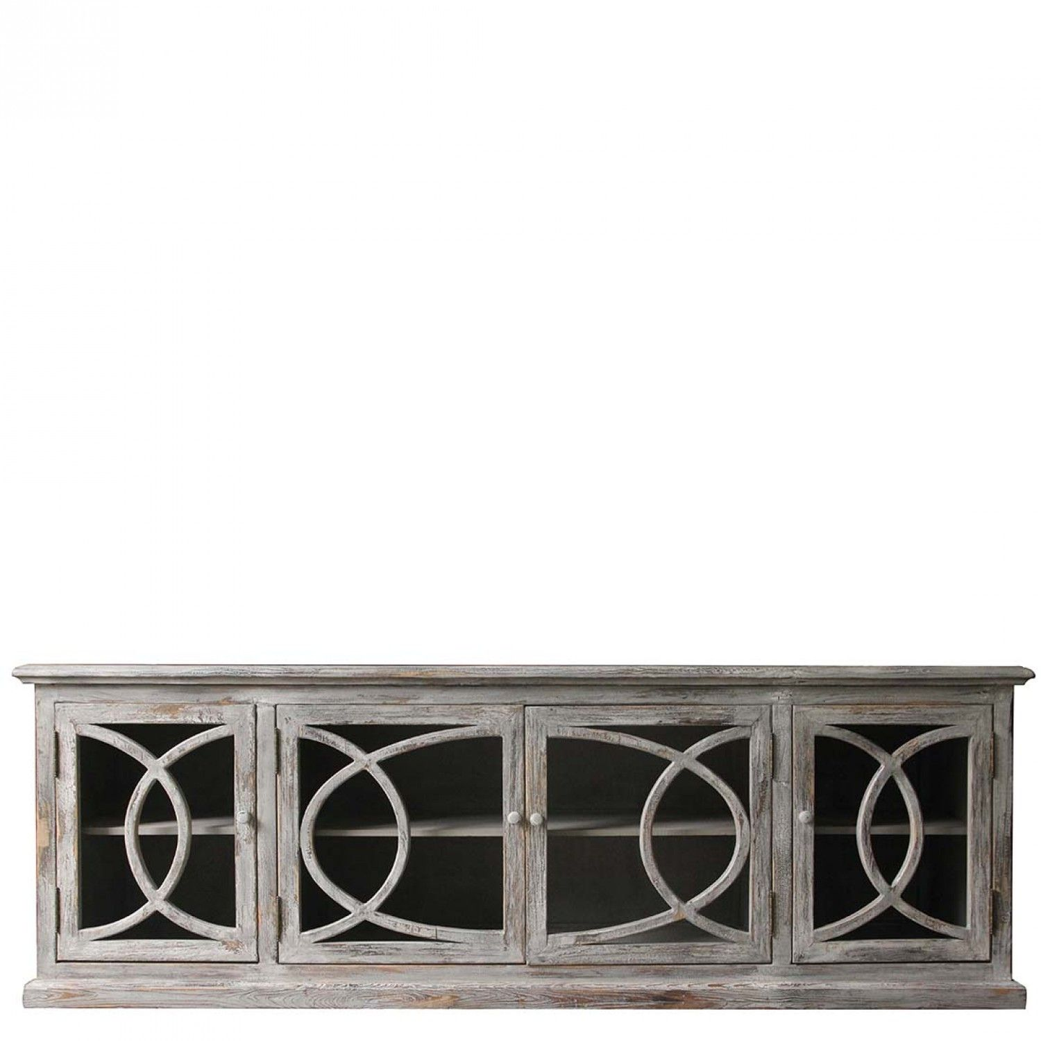 Beau Long Low Cabinet | Sideboard With Glass Doors | Orchid