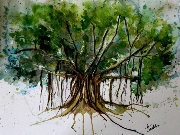Watercolor Banyan Tree Tree Painting Canvas Tree Painting