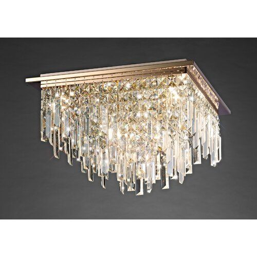New Galaxy Lighting Crystal Chandelier Gold Finish 6 Light Pendant Ceiling Lamp