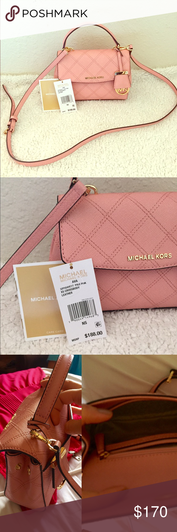 4e967ca3d Michael Kors xs Ava crossbody bag Brand new never been used Michael Kors  Ava Xs crossbody bag. Pale pink color with gold details.