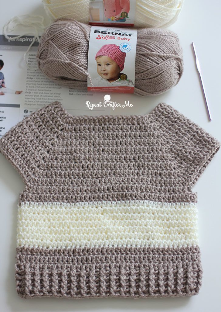 Photo of Crochet Character Sweater and Yarnspirations Baby's Day Out Lookbook – Repeat Crafter Me