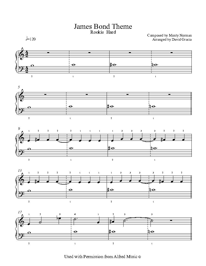 James Bond Theme By Monty Norman Piano Sheet Music Rookie Level