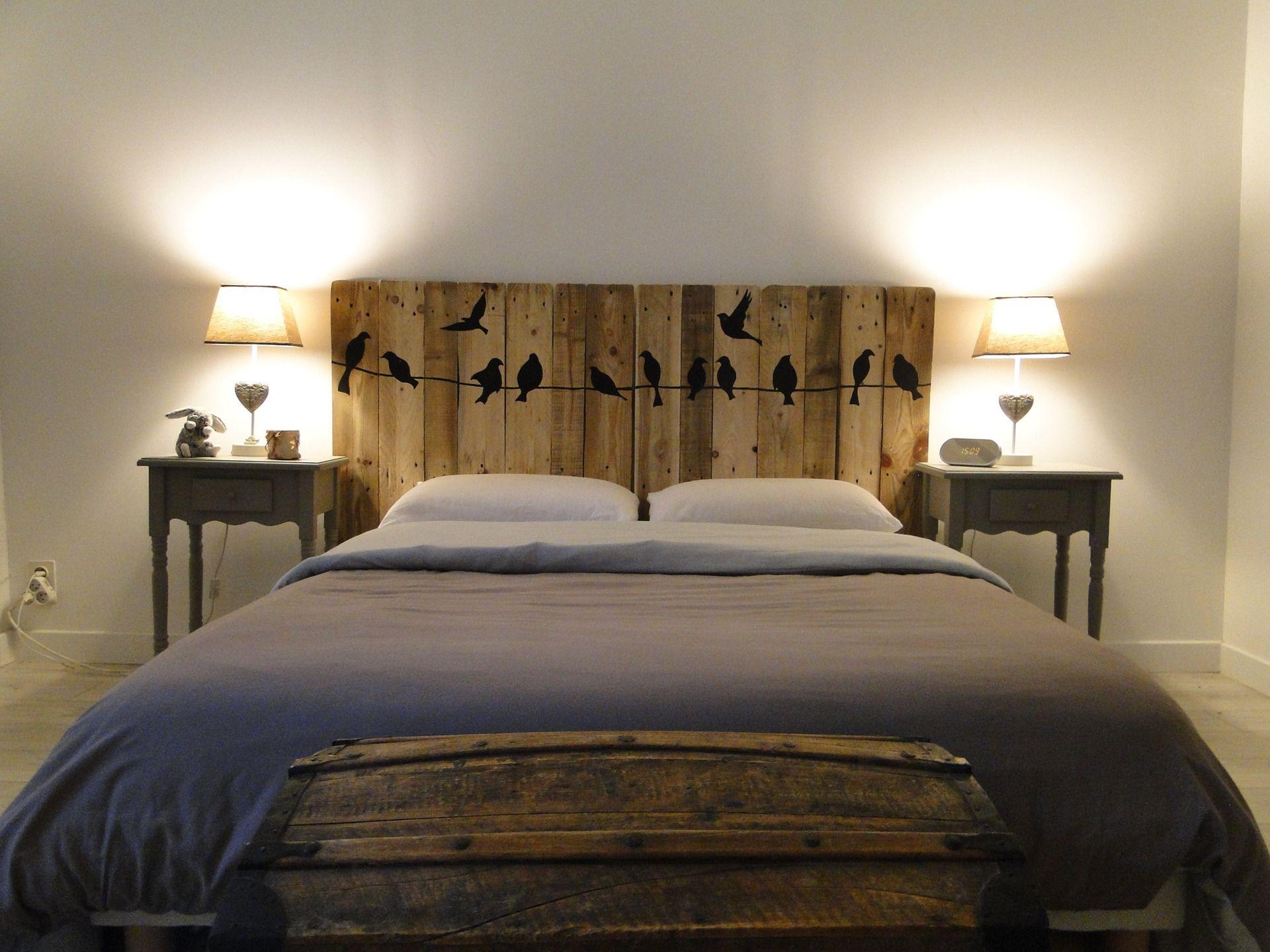 """tête de lit en bois motifs """" oiseaux """" : meubles et rangements par"""